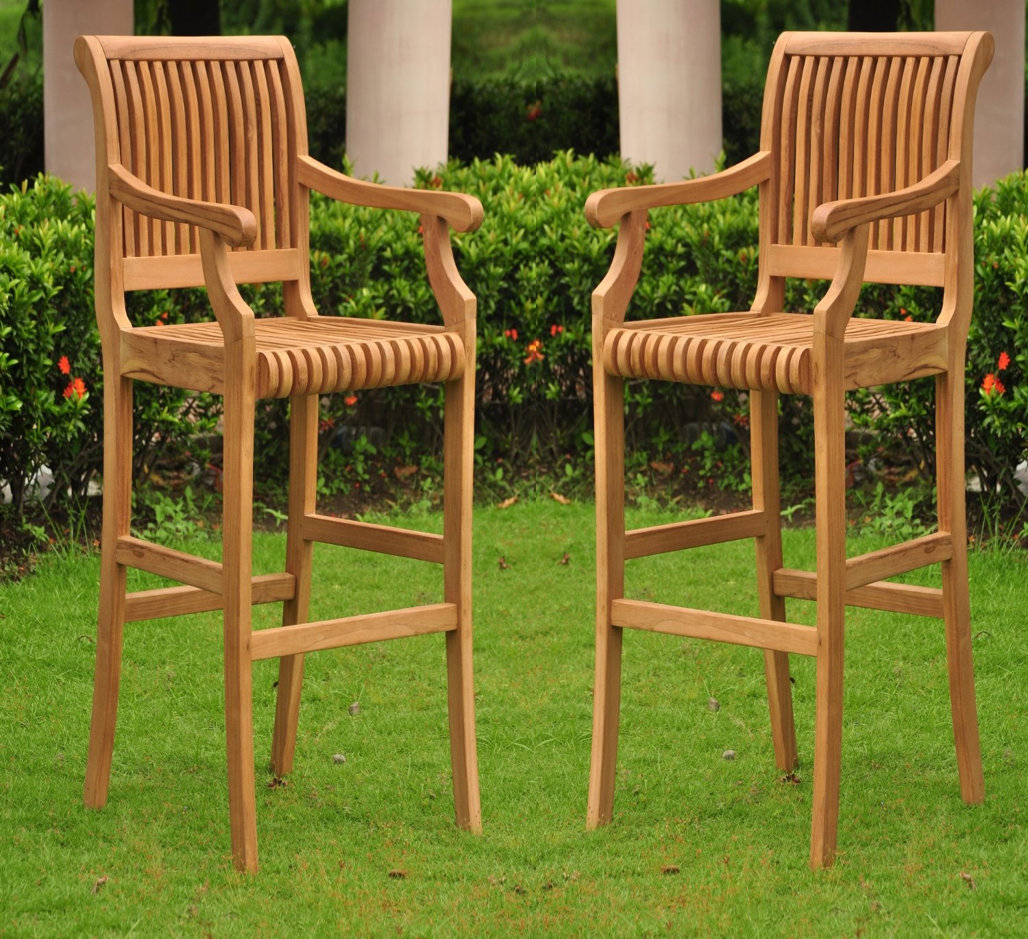 Exceptional New Grade A Teak Wood Outdoor Patio Bar Arm Chair Only U2013 Cushions Sold  Separately