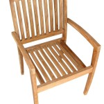 American Trading Company KT-RA Reno Commercial Grade Natural Teak Stackable Arm Chair (Pack of 4)