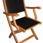 Teak Folding Chair with arms Sling Seat – PAIR