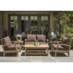 Regency Teak Sonoma Deep Seating 6 Piece Love Seat Set Canvas Henna