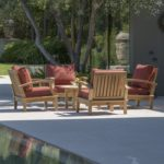 Regency Teak Sonoma Deep Seating 5 Piece Arm Chair Set Canvas Henna