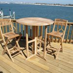 Windsor's 3pc Premium Grade A Indonesian Plantation Teak Bar Set, 39″ Round/70lbs Folding Dropleaf Bar Table and 2 Folding Bar Chairs ,World's Best Outdoor Furniture!