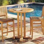 Grade-A Teak Wood 3 Piece Bar Set – 36″ Round Bar Table With 2 Bar Armless Chairs