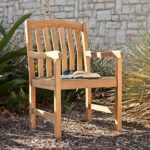 Gentry Teak Arm Chair in Light Brown Unstained Teak Finish